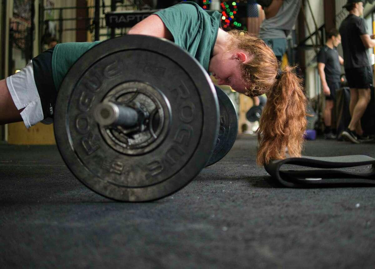 Jillian Huerter works out at 518ATHLETE on Wednesday, Sept. 1, 2021. Huerter is coming back from a torn meniscus.