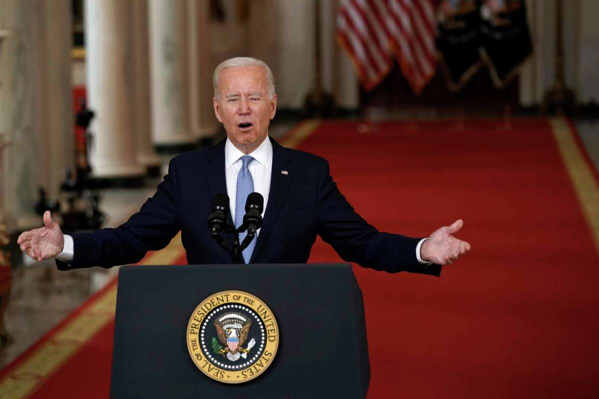 President Joe Biden delivers remarks on ending the war in Afghanistan in the State Dining Room at the White House in Washington, D.C., on Tuesday, Aug. 31, 2021. (Yuri Gripas/Abaca Press/TNS)