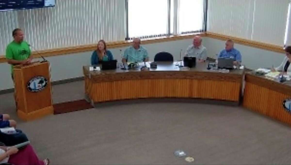 Brian Childs, president of the Benzie Central Schools Board of Education, comments on the Benzie Leelanau District Health Department's K-12 school mask mandate at a special meeting of the Benzie County Board of Commissioners held Wednesday. (Courtesy Photo)