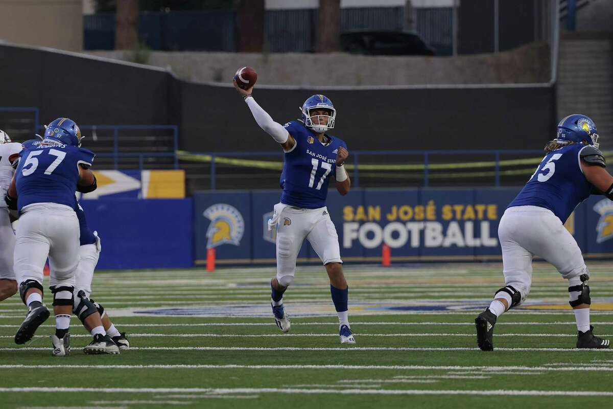 Nick Starkel threw for 394 yards and four touchdowns in San Jose State's 45-14 win over Southern Utah on Saturday night.