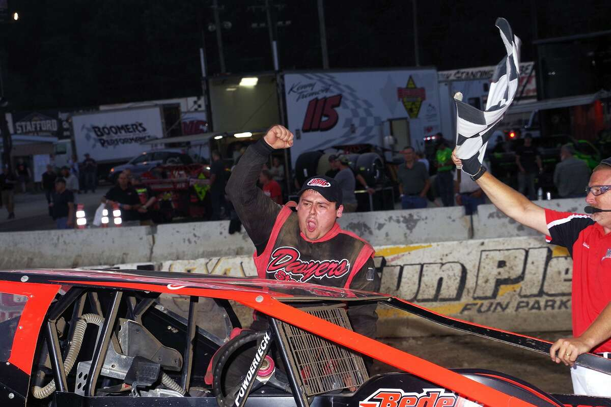 Olden Dwyer is gaining lots of experience in his first year in the DirtCar Modified Series and also races at Fonda Speedway. Here, he visits victory lane at Fonda.