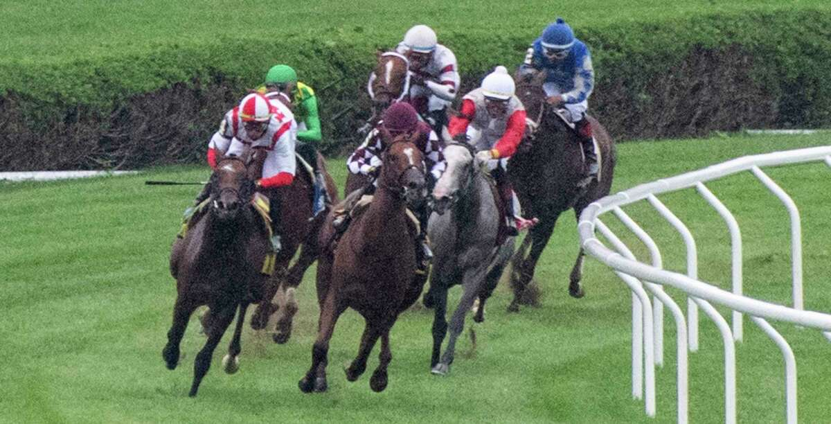 Coinage, with jockey Junior Alvarado, leads the field at the top of the stretch and wins the 17th running of the With Anticipation Stakes at Saratoga Race Course on Wednesday, Sept. 1, 2021.
