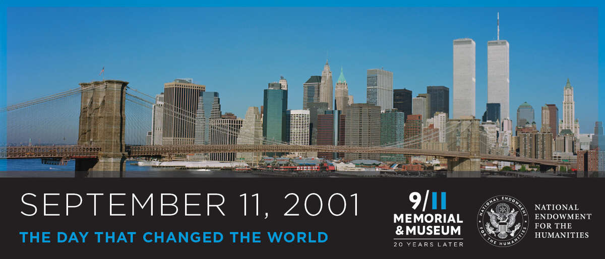 """New York City's pre-9/11 skyline provides a visual starting point for """"September 11, 2001: The Day That Changed the World,"""" an exhibit on display through September at Manvel Library, 20514B Texas 6. Staff members of the 9/11 Memorial & Museum, which organized the exhibition, will answer library visitors' questions during a virtual chat Sept. 11. Visit bcls.lib.tx.us to learn more."""