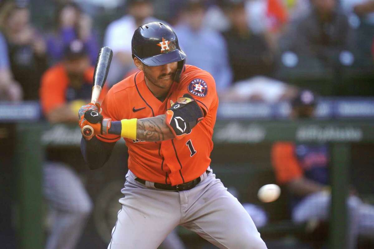 Carlos Correa strikes out looking with the tying run aboard in the eighth inning of Wednesday's 1-0 loss in Seattle, the Astros' second straight shutout defeat at the hands of the Mariners.