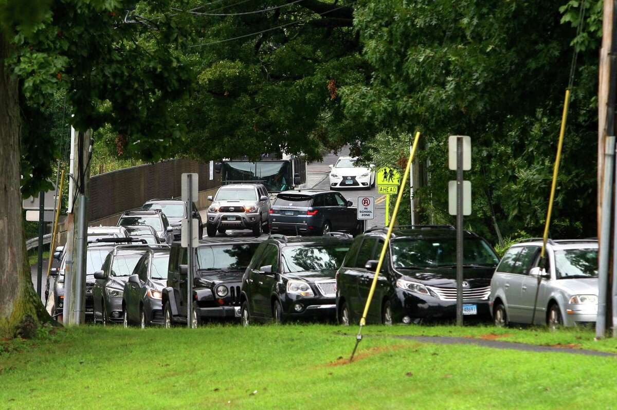 Traffic backed up at Roton Middle School in Norwalk, Conn., on Wednesday September 1, 2021. Traffic on Highland Avenue stretched from Roton Middle School north to Brien McMahon High School and Brookside Elementary School.