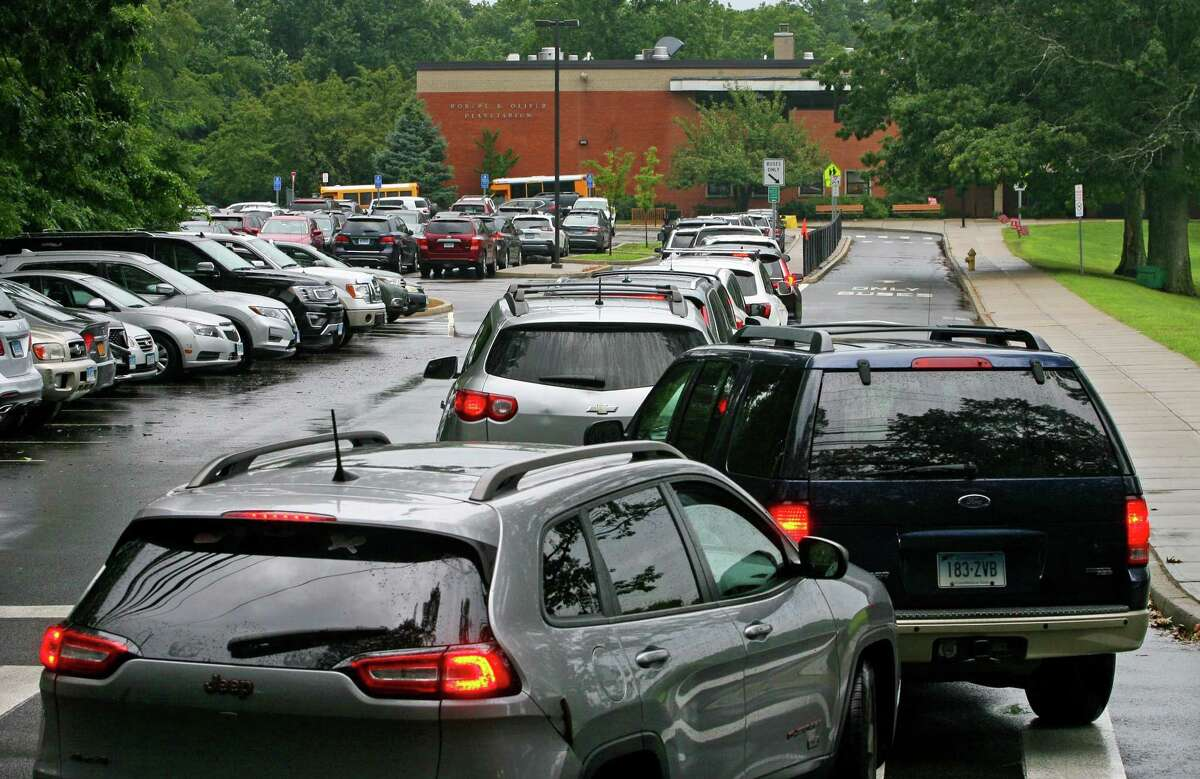 Traffic was backed up at Roton Middle School in Norwalk, Conn., on Wednesday September 1, 2021. Traffic on Highland Avenue stretched from Roton Middle School north to Brien McMahon High School and Brookside Elementary School.