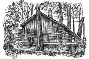 A home lost in the 2020 CZU August Lightning Complex wildfires, illustrated by artist Meg Adler.