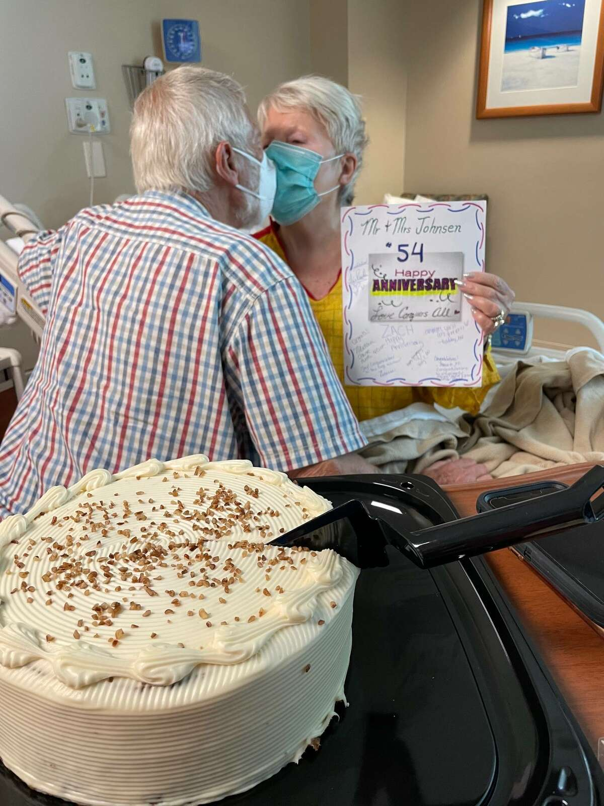 """Roy and Sylvi Johnsen, of League City, celebrate their 54th wedding anniversary Aug. 26 at HCA Houston Healthcare Clear Lake. Admitted for right-side weakness, Sylvi underwent testing and was discharged shortly afterward """"in good health,"""" according to the hospital."""