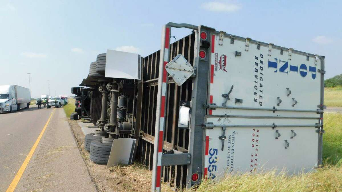This rollover crash was reported along mile marker 24 of Interstate 35 on Wednesday. The driver was not injured.