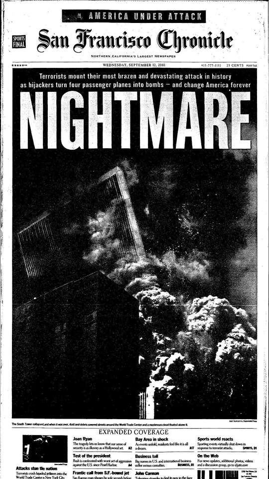 """The front page of The San Francisco Chronicle on Sept. 12, 2001 shows the South Tower of the World Trade Center collapsing under the headline """"Nightmare."""""""