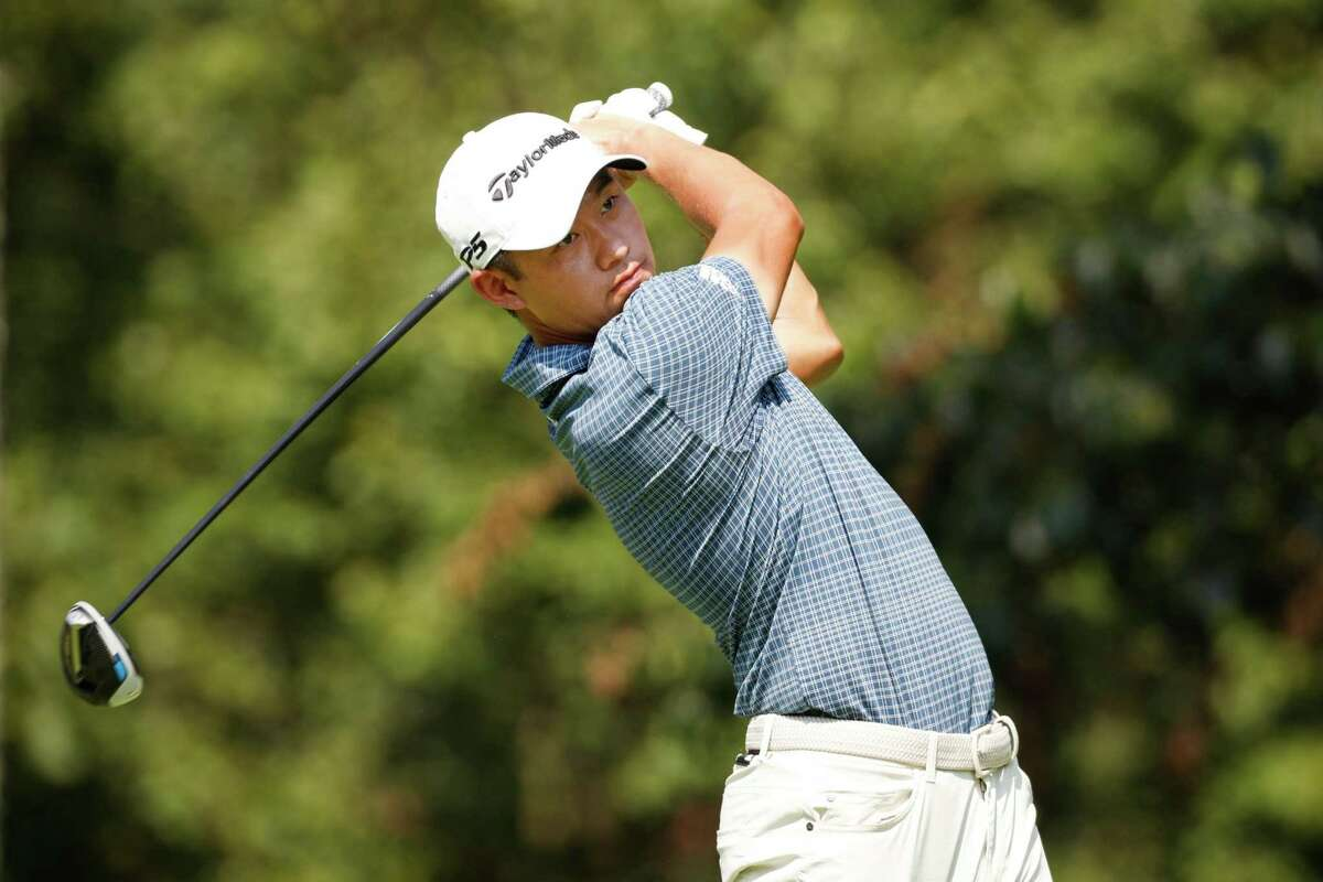 OWINGS MILLS, MARYLAND - AUGUST 27: Collin Morikawa of the United States plays his shot from the second tee during the second round of the BMW Championship at Caves Valley Golf Club on August 27, 2021 in Owings Mills, Maryland. (Photo by Cliff Hawkins/Getty Images)
