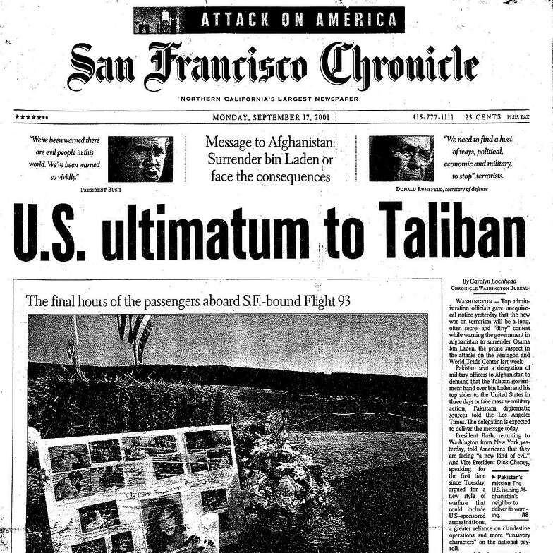 """The Sept. 17, 2001, front page of The San Francisco Chronicle shows a memorial to victims aboard Flight 93 under the headline """"U.S. Ultimatum to Taliban."""""""