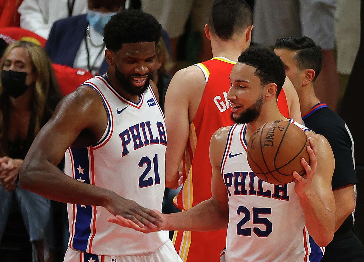Joel Embiid (21) is a 76ers cornerstone after signing a recent extension, however running mate Ben Simmons doesn't seem eager to remain in the City of Brotherly Love.