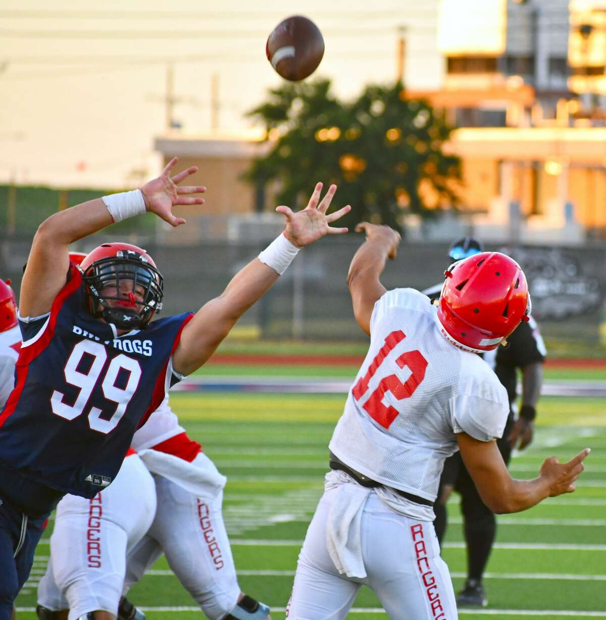 Plainview's Justice Deleon tries to defend the pass of Perryton's Abraham Hernandez during their preseason scrimmage on Aug. 20. The Bulldogs will return to Greg Sherwood Memorial Bulldog Stadium for their home opener on Friday against Amarillo Palo Duro.