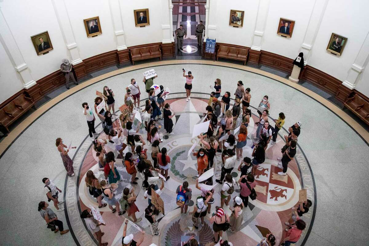 Students protest in the Texas Capitol building against Texas new law that effectively bans abortions after six weeks in Austin, Texas, U.S. on Wednesday, September 1, 2021.