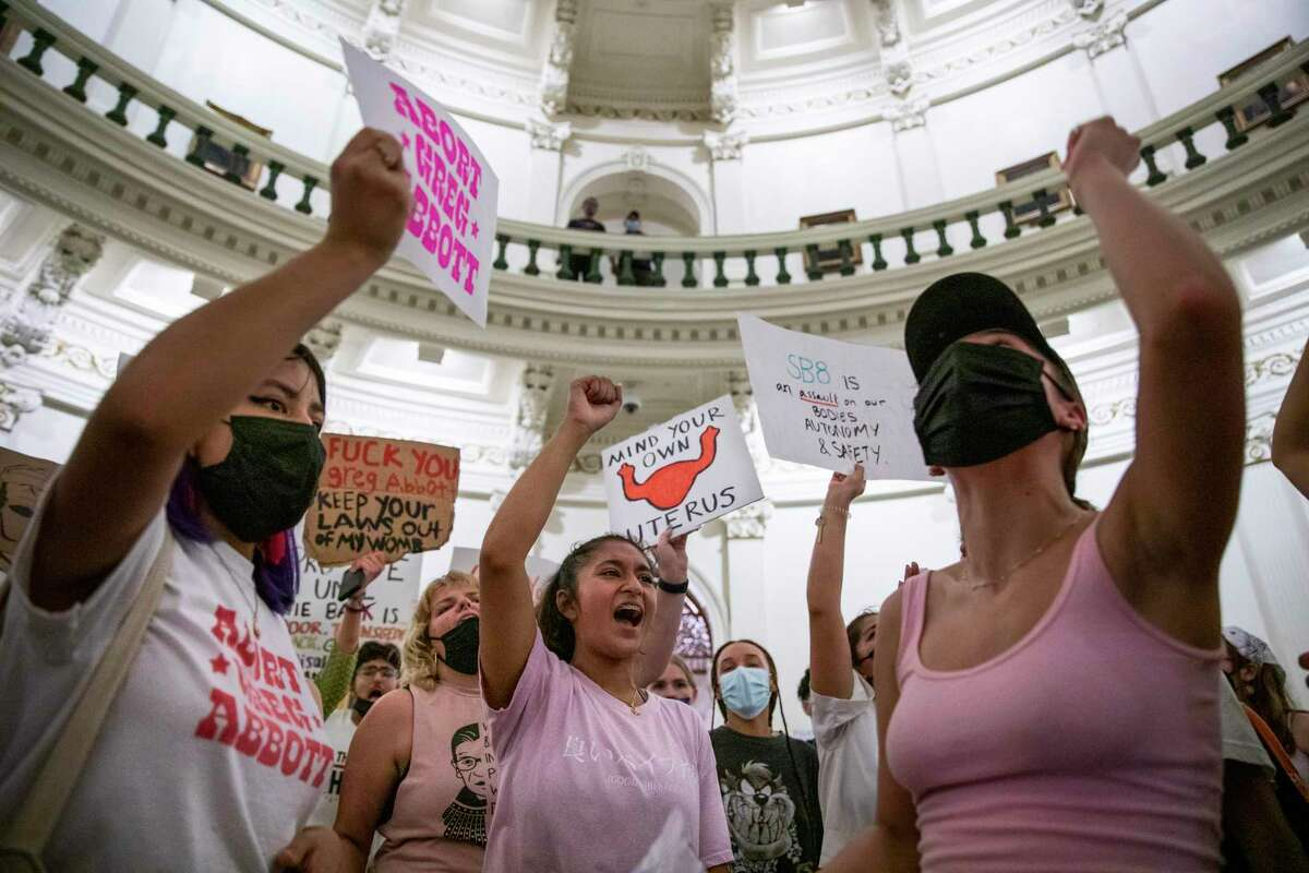 Students protest in the Texas Capitol building against Texas?•s new law that effectively bans abortions after six weeks in Austin, Tx., U.S. on Wednesday, September 1, 2021. Texas Senate Bill 8, SB8, that effectively bans abortions after six weeks in the state of Texas went into effect on Wednesday, September 1, 2021. The Austin Students for a Democratic Society along with the Feminist Action Project organized and held a protest against the implementation of the new law outside the Texas Capitol.