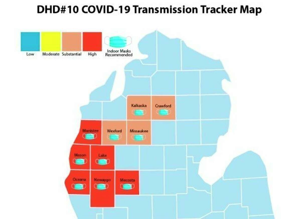 This map shows areas in the District Health Department #10 region where masks are recommended. (Screenshot/DHD10.org)