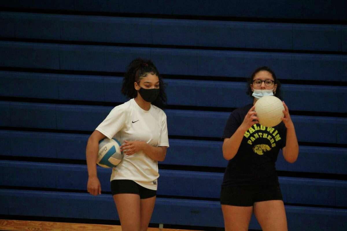 Baldwin's volleyball team goes through a Tuesday practice session. (Star photo/John Raffel)