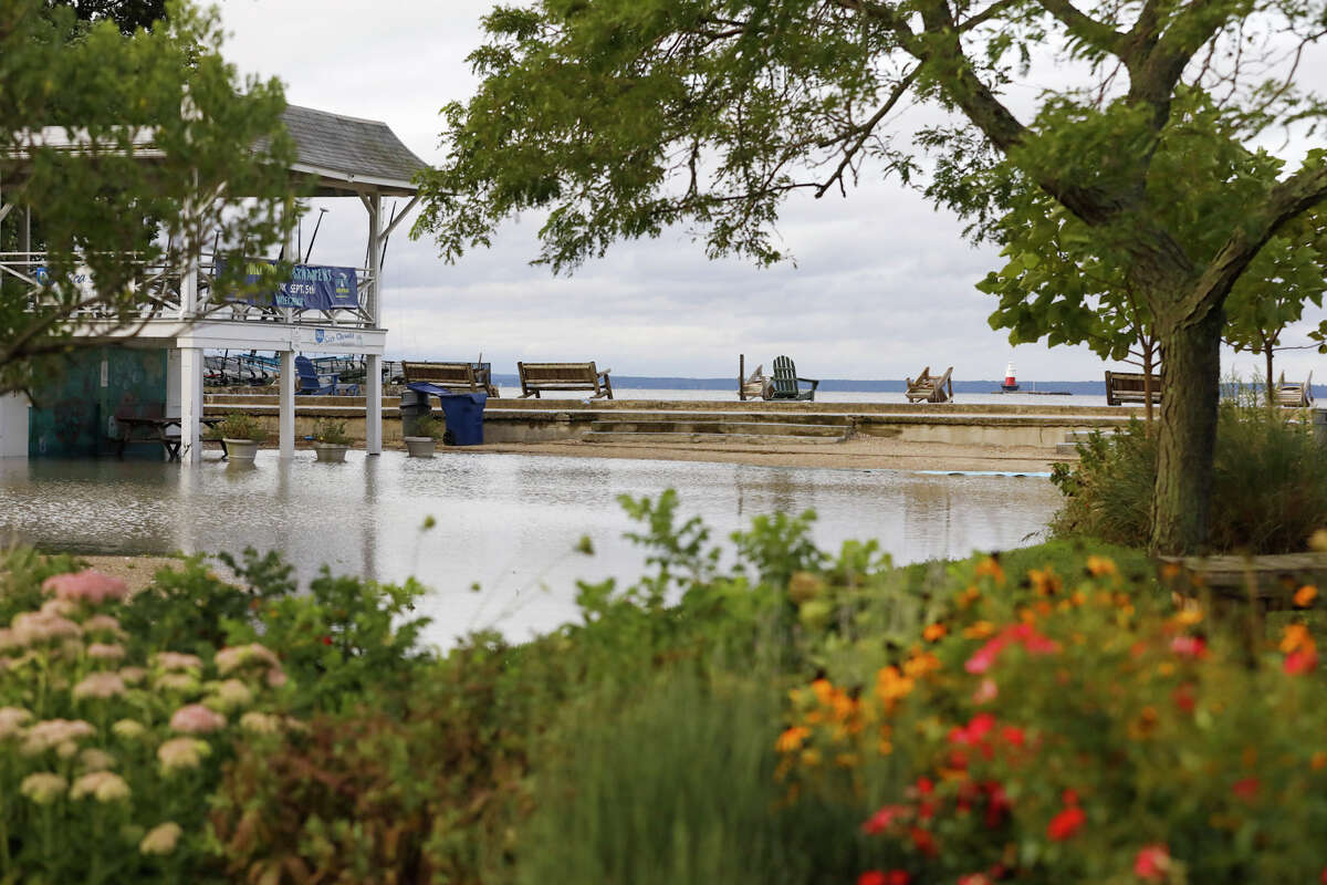 Bailey Beach is flooded after remnants of Ida hit Connecticut overnight on Thursday, Sept. 2, 2021.