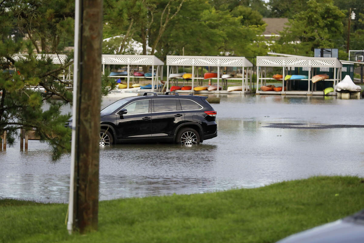 A flooded parking lot at Roton Point Club after remnants of Ida hit Connecticut overnight on Thursday, Sept. 2, 2021.