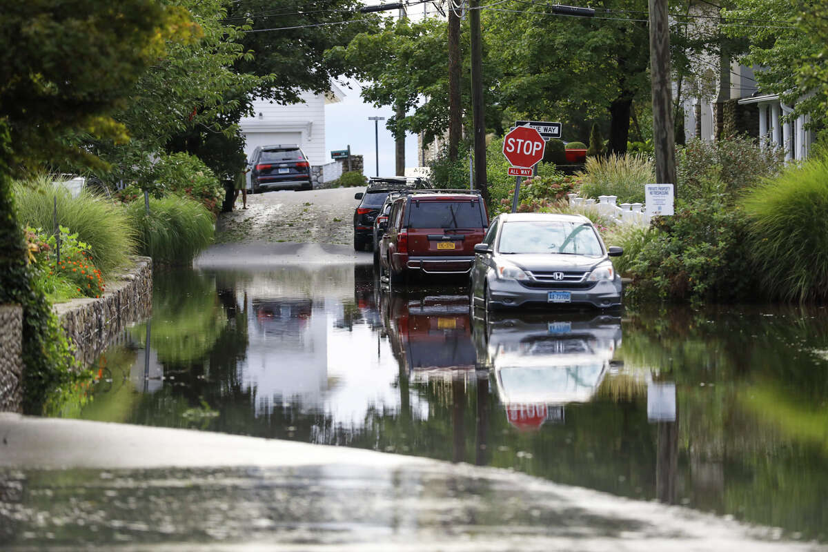 Streets on Bell Island remained flooded after remnants of Ida hit Connecticut overnight on Thursday, Sept. 2, 2021.
