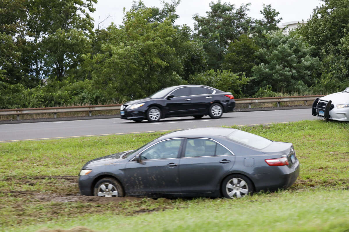 Cars stuck in the Median of the Route 7 connector in Norwalk after remnants of Ida hit Connecticut overnight on Thursday, Sept. 2, 2021.
