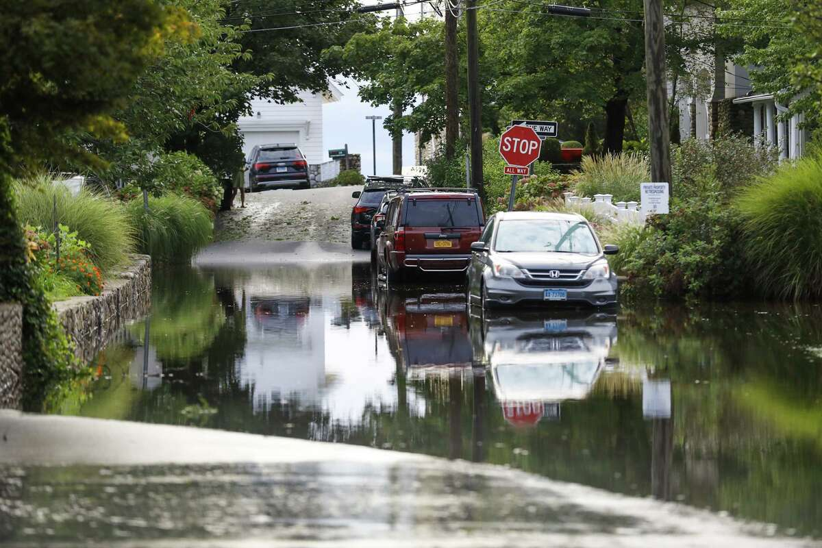A Bell Island street is flooded Thursday in Norwalk after Ida dumped inches of rain overnight.