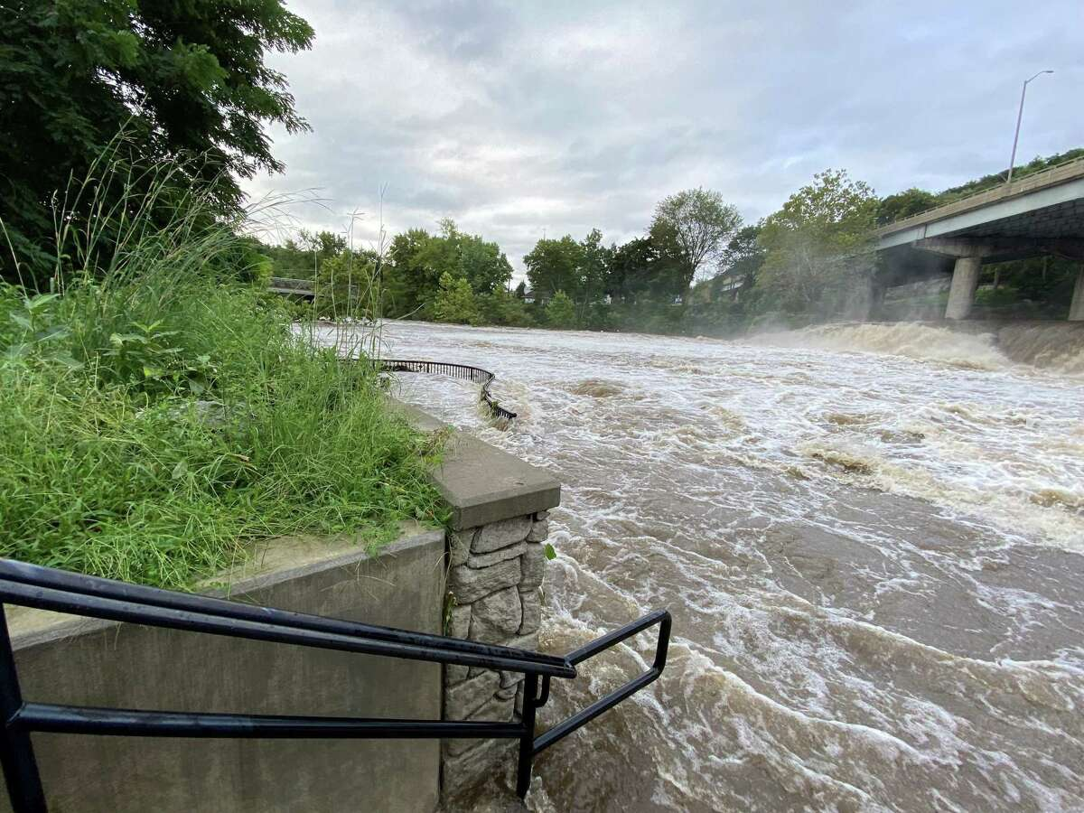 Pawlak Park in Seymour was flooded as the remnants of Hurricane Ida tore through the region.