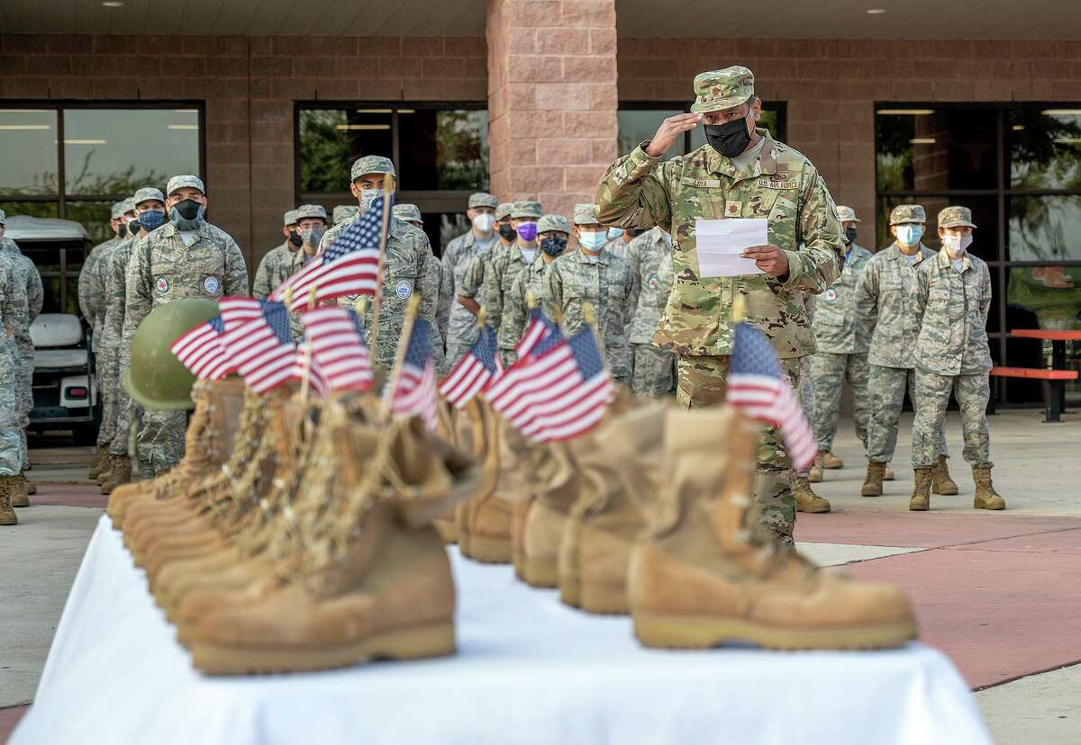 United High School ROTC Instructor Major Jose Loya performs a Heroes Roll Call on Wednesday for the 13 service members killed in Kabul, Afghanistan on Aug. 26 as the United High School ROTC paid tribute to Lance Corporal David Lee Espinoza.