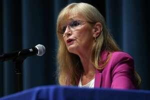 West Haven Mayor Nancy Rossi debates challenger John Lewis in the West Haven High School auditorium on September 1, 2021.