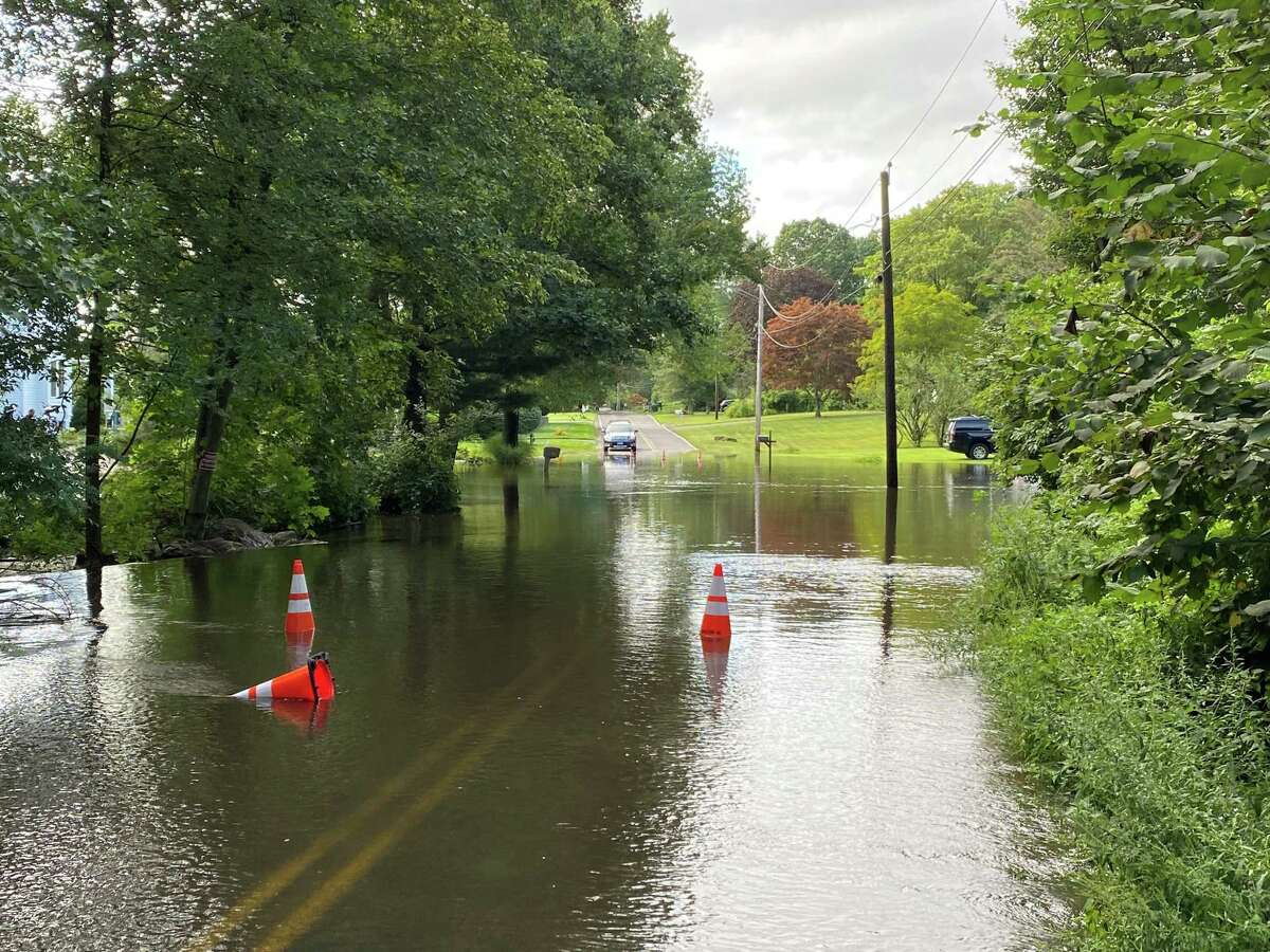 Israel Hill Road in Shelton is flooded after Hurricane Ida dumped several inches of rain on Connecticut overnight.