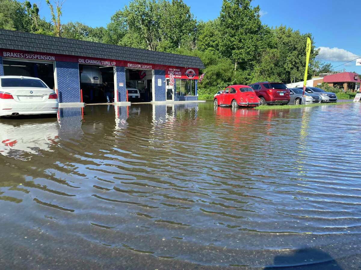 Danbury Road in New Milford was flooded Thursday, Sept. 2, 2021 after the remnants of Ida hit the area. Photo by Sandra Diamond Fox