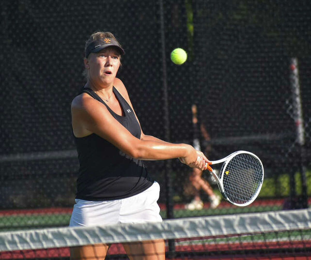 Edwardsville's Hannah Colbert hits a backhand shot during his singles match against St. Joseph's Academy on Thursday in St. Louis.