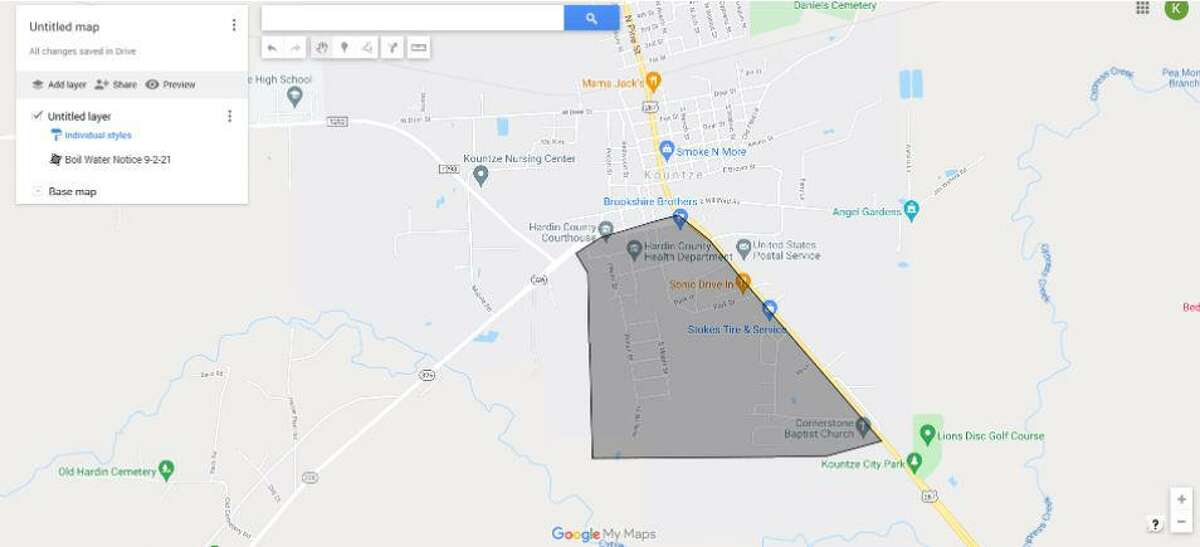 There is a boil water advisory for the city of Kountze for all customers in the area south of Texas 326 and west of U.S. 69 (Forest Acres, Coe Addition, other areas around Hardin County Courthouse), as ordered by the Texas Commission on Environmental Quality. Customers have to boil their water prior to consumption, washing or brushing teeth.