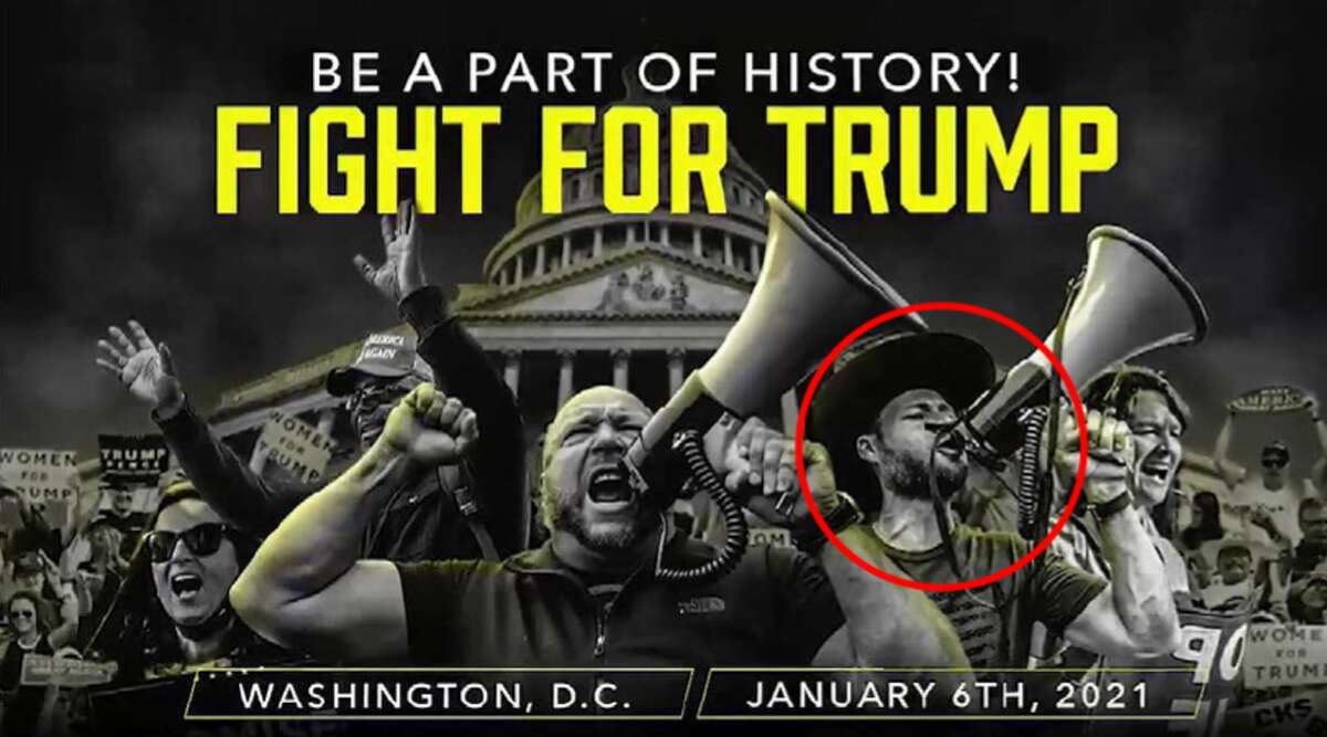 """Jonathon Owen Shroyer, the InfoWars talk show host of """"The War Room with Owen Shroyer"""" was charged in connection with the Jan. 6 Capitol riot. Authorities said InfoWars promoted the march on the Capitol with the above image of Shroyer in the red cirlce."""