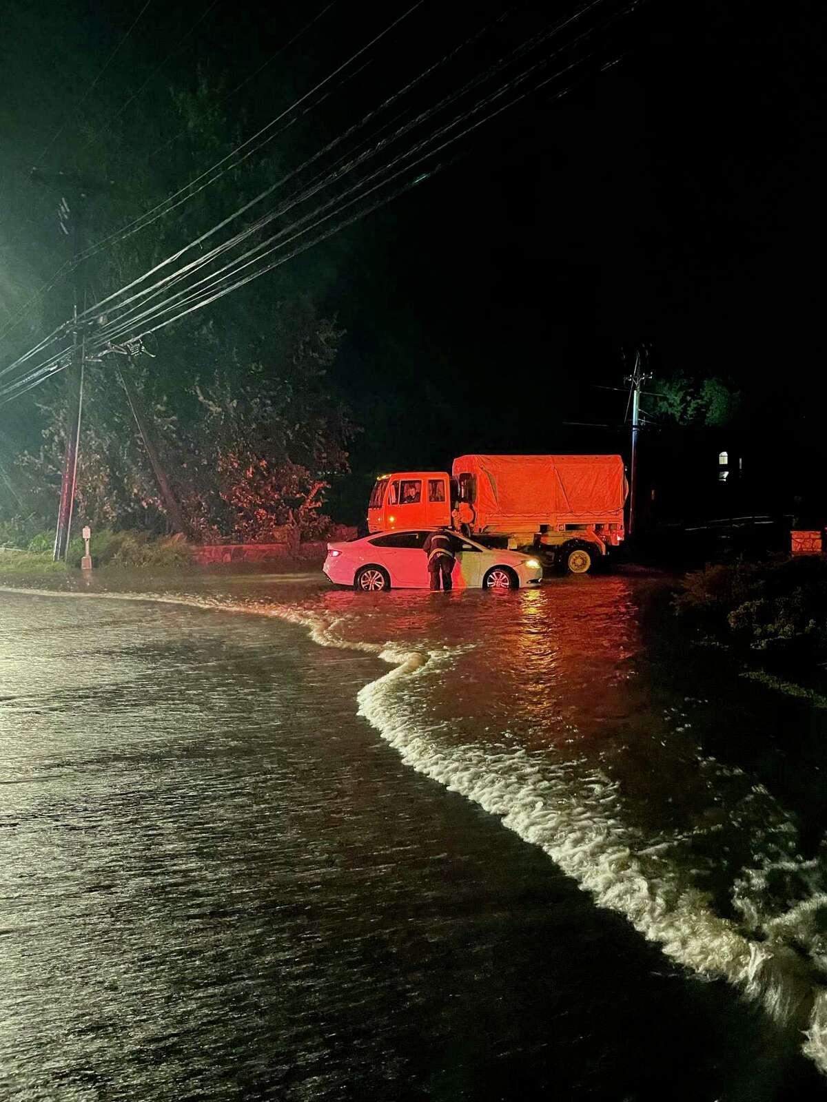 Flooding on Morningside Drive in Westport, following Hurricane Ida.