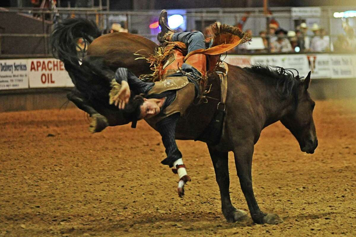A cowboy falls in the saddle bronc riding competition during a previous Pasadena Livestock Show and Rodeo. After many of its events were canceled last year because of the pandemic, PLSR is scheduled to have a full slate of activities when it returns Sept. 24 through Oct. 2.