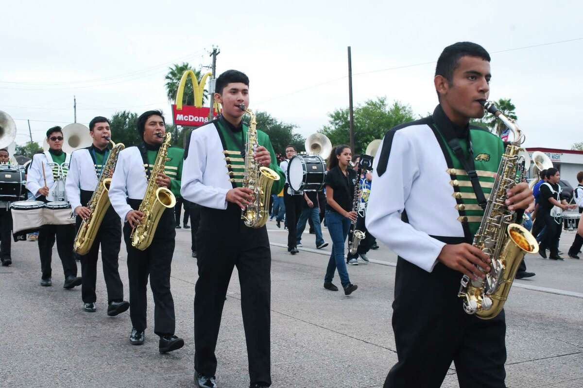 Members of the Pasadena High School marching band play as they march in a Pasadena Livestock Show and Rodeo Parade. The parade this year will be Sept. 11, starting at 9:30 a.m.