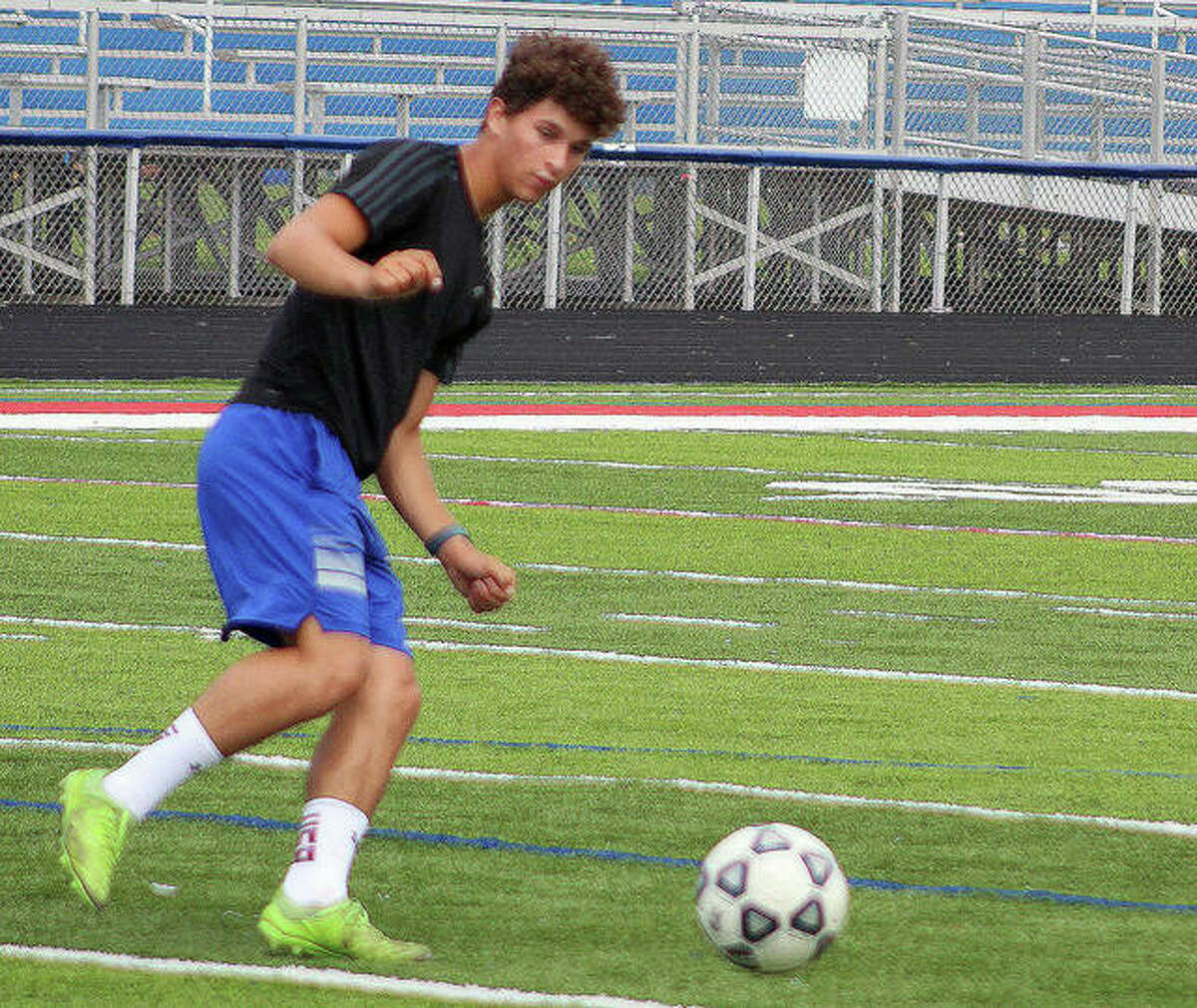 Trieton Park of Carlinville, shown in a recent practice session, leads the St. Louis area in scoring with 13 goals and four assists. he also leads in game-winning goals with three.