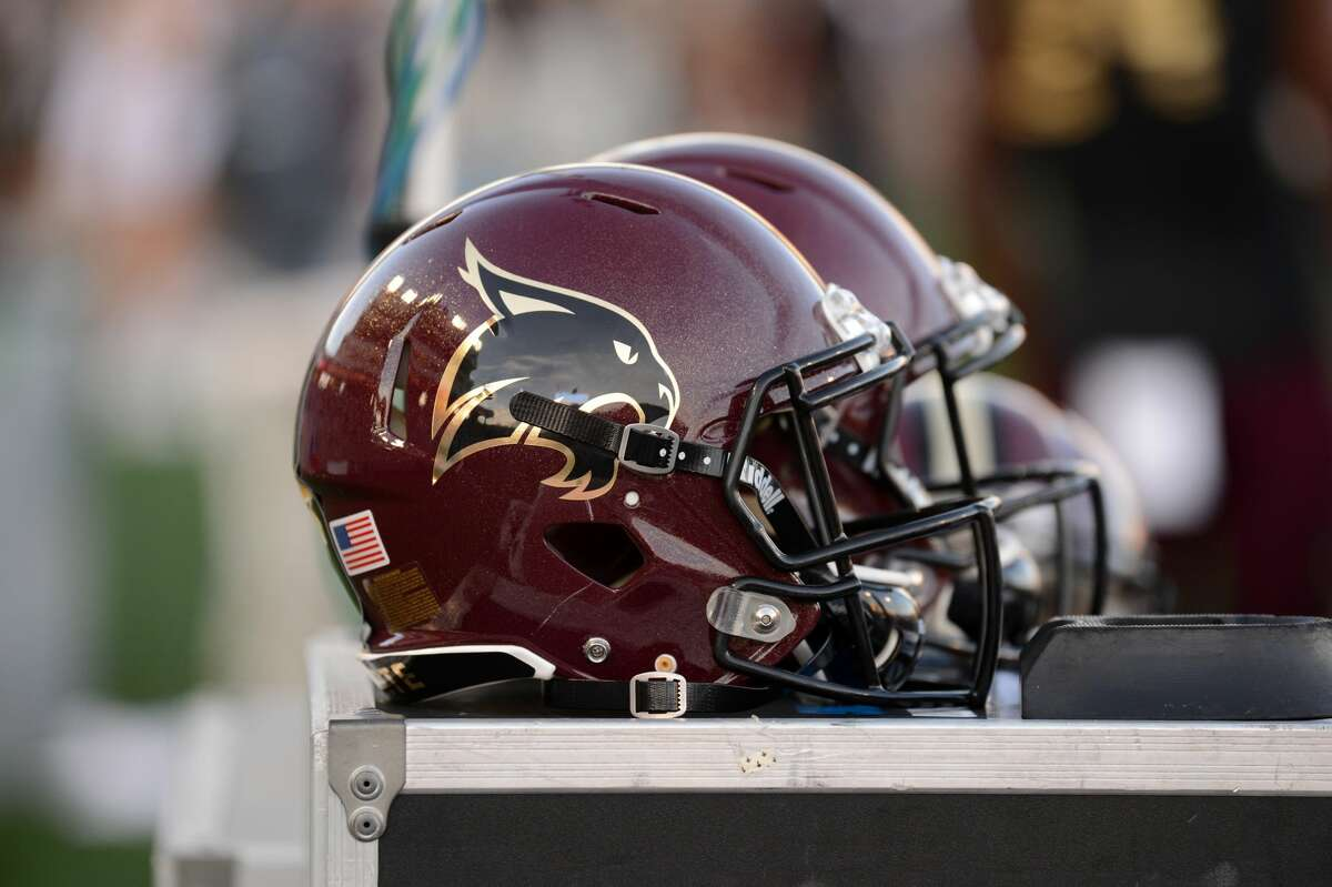 SAN MARCOS, TX - NOVEMBER 24: A Texas State Bobcats helmet sits on the sidelines during Sun Belt Conference game against the Arkansas State Red Wolves on November 24, 2018 at Bobcat Stadium in San Marcos, TX. (Photo by John Rivera/Icon Sportswire via Getty Images)