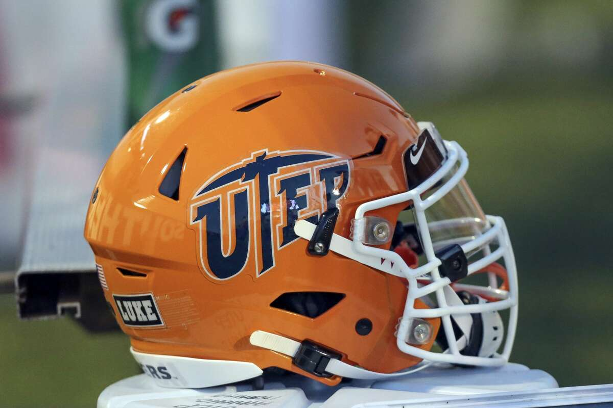 HATTIESBURG, MS - SEPTEMBER 28: UTEP helmet during the Southern Miss Golden Eagles game versus the UTEP Miners on September 28, 2019, at Carlisle-Faulkner Field at M.M. Roberts Stadium in Hattiesburg, MS. (Photo by Bobby McDuffie/Icon Sportswire via Getty Images)