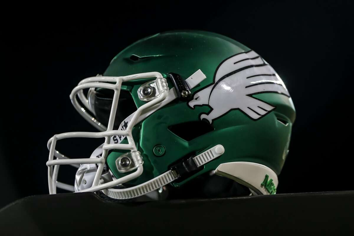 DENTON, TX - SEPTEMBER 28: A North Texas Mean Green helmet sits on top of a table during the game between the North Texas Mean Green and the Houston Cougars on September 28, 2019 at Apogee Stadium in Denton, Texas. (Photo by Matthew Pearce/Icon Sportswire via Getty Images)