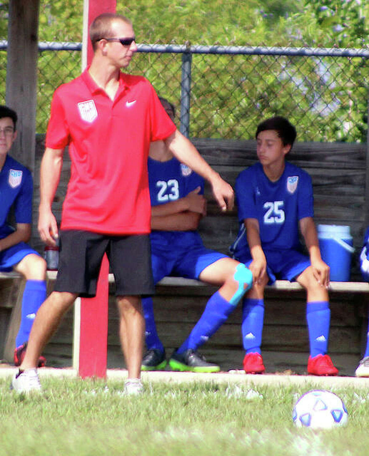 Carlinville soccer coach Tim Johnson's team is off to a 6-0 start after winning the championship game of its own tournament Wednesday with a 1-0 win over Hillsboro. Johnson is shown during a 2018 game.