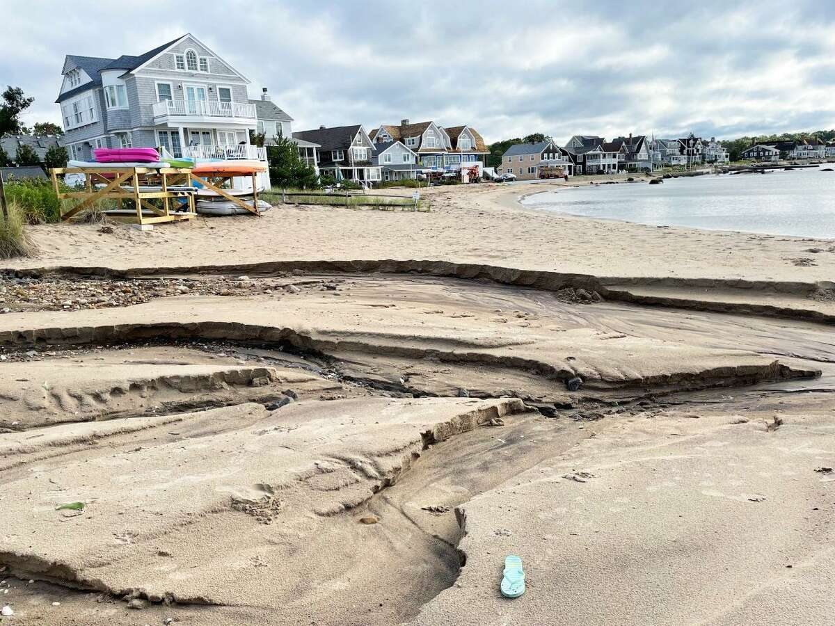 At West Wharf beach in Madison, the storm eroded much of the sand.