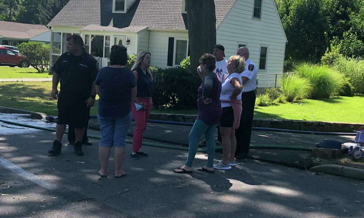 Fairfield First Selectwoman Brenda Kupchick and first responders meet with residents following Wednesday night's storm.