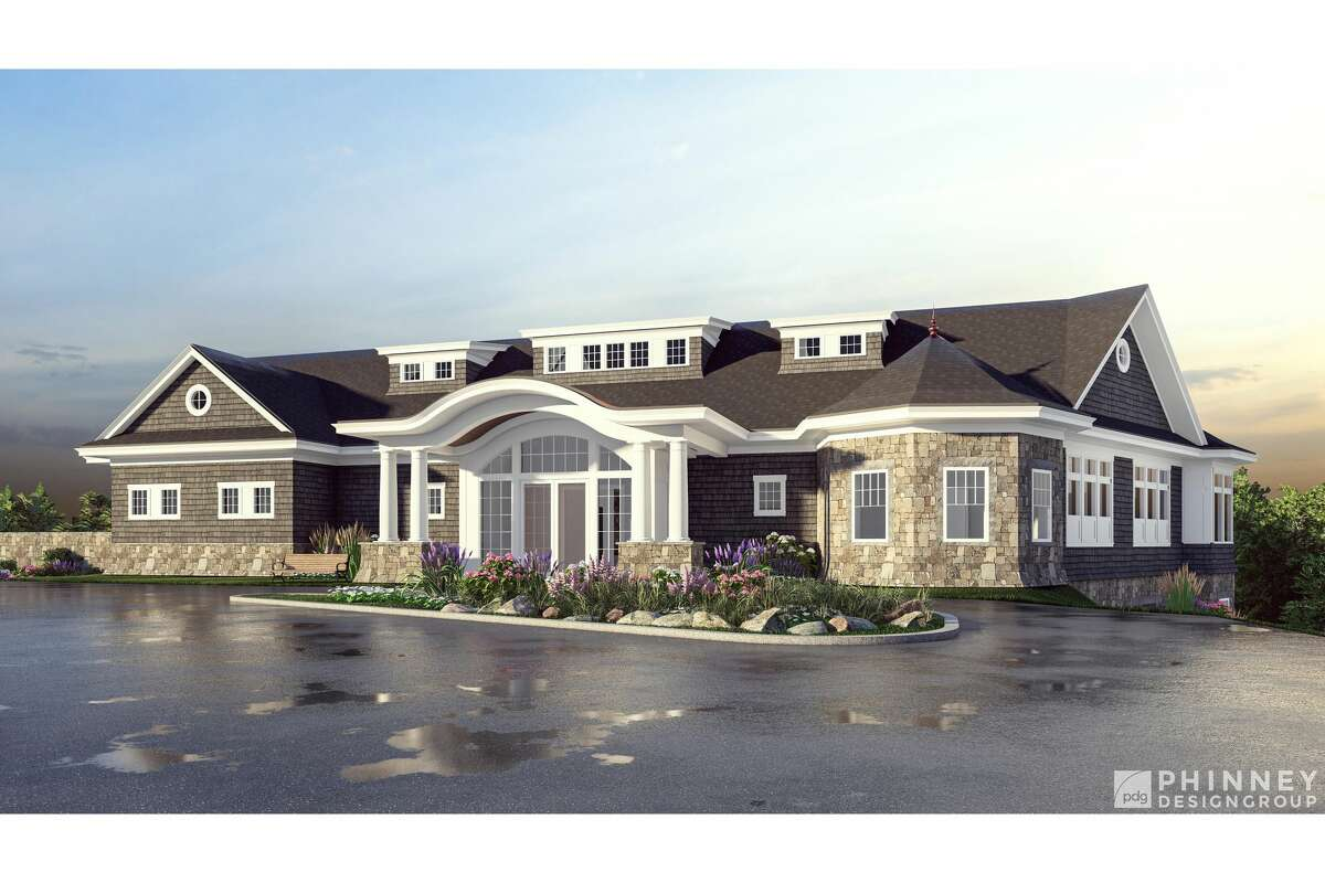 Amsterdam golf course clubhouse project rendering is seen.