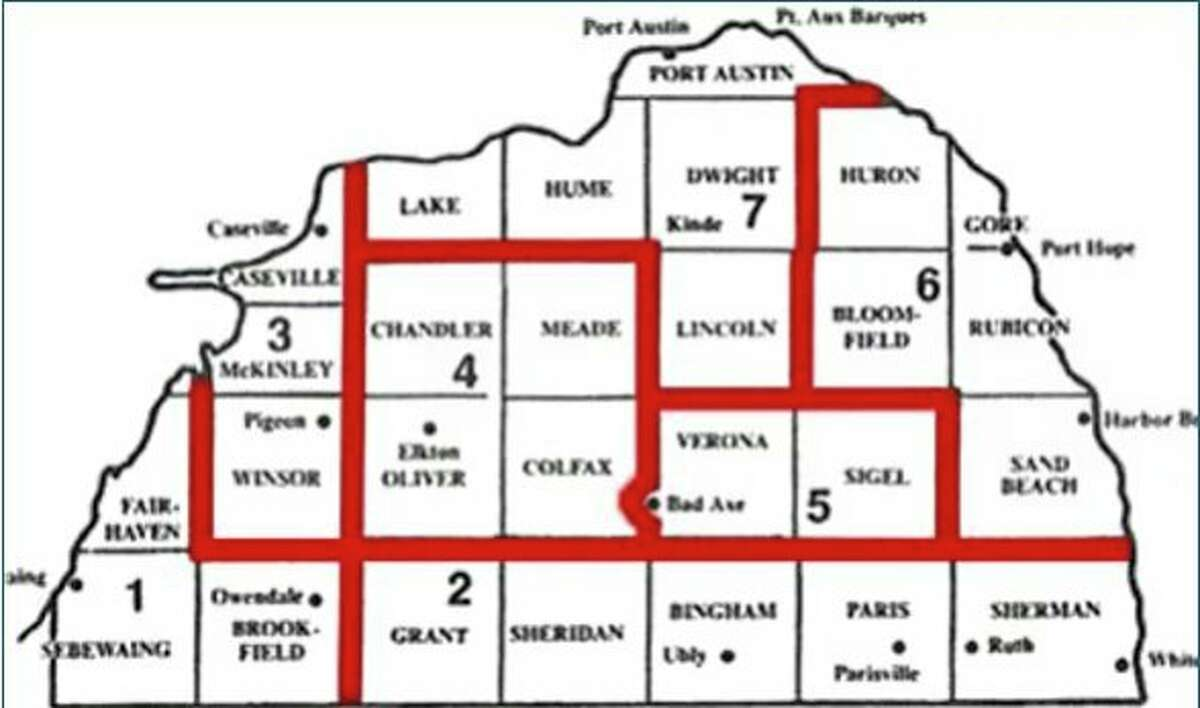 The current map for the Huron County Commissioner districts, which may change as the Huron County Apportionment Committee looks at redrawing this map. The committee has to redraw the map to reflect the population trends of the past 10 years. (Huron County/Courtesy Photo)