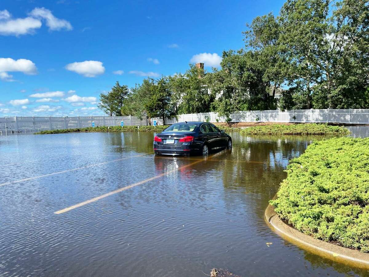 The parking lot of the Madison Beach Club is seen Thursday after storm Ida passed through the area.