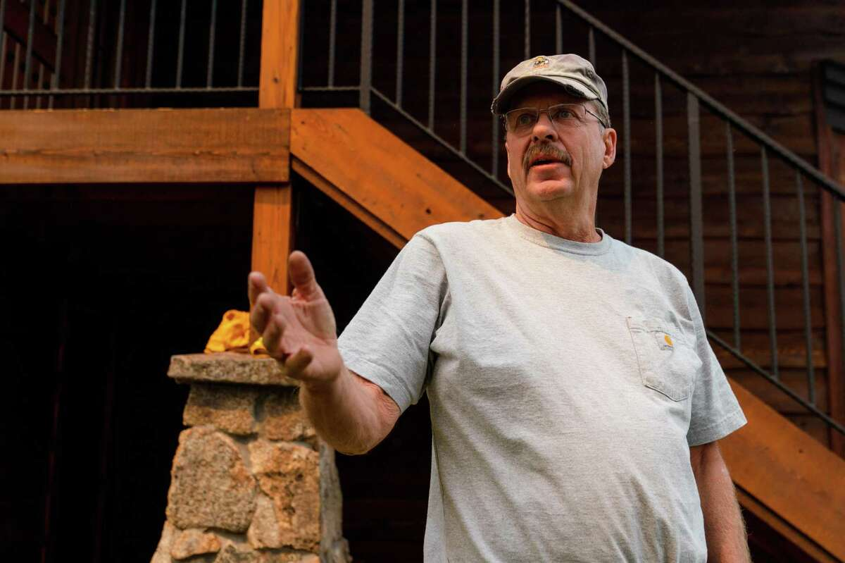 Retired firefighter Scott Swift talks about the measures he has taken to protect his home from the Caldor Fire near South Lake Tahoe.