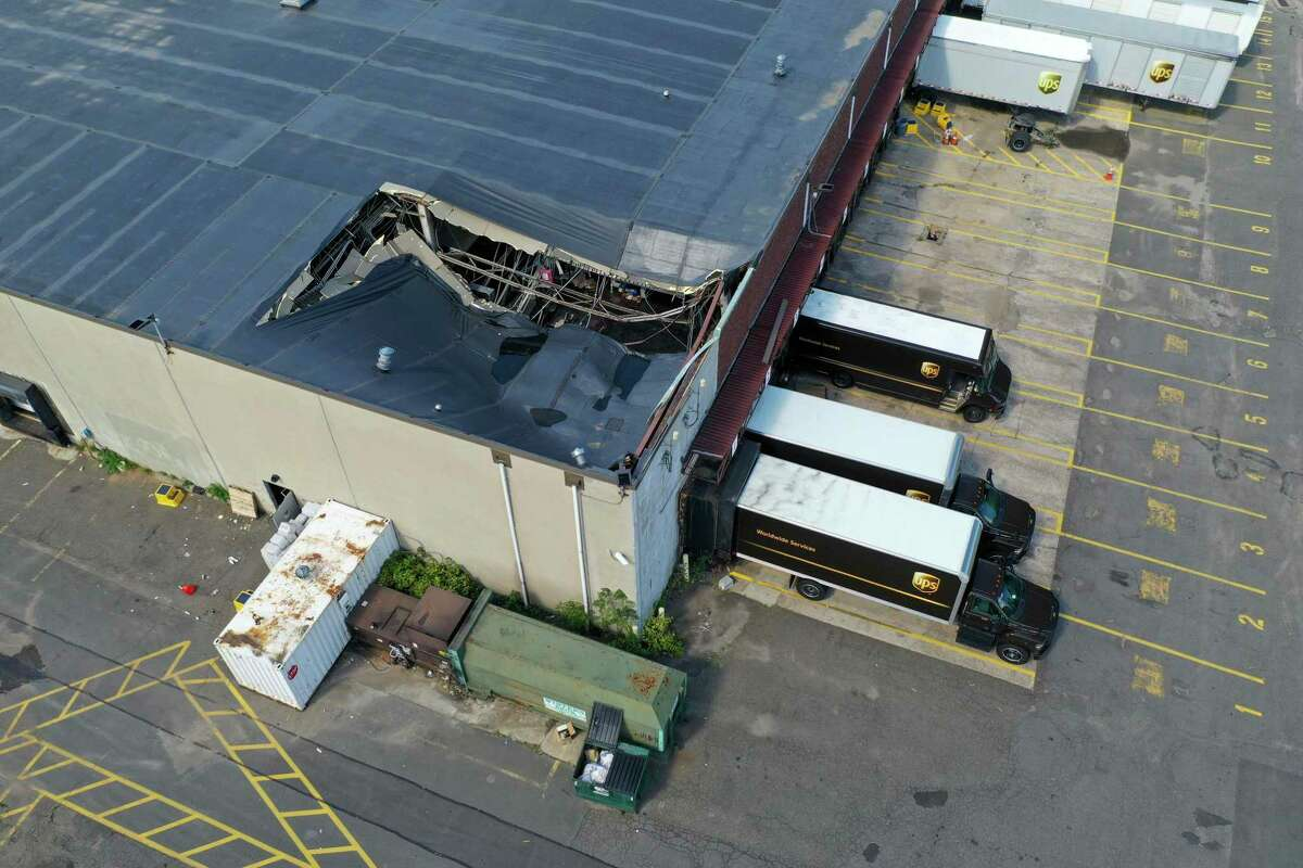 The Norwalk UPS facility on MLK Drive suffered a partial roof collapse during the torrential rain caused by Ida, a city official said.